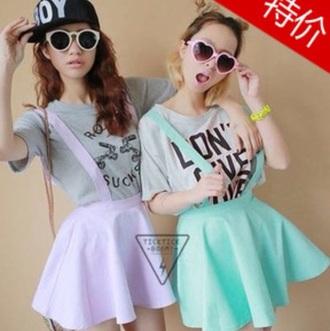 skirt kawaii skirt skater skirt pastel sunglasses