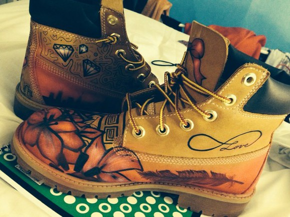 feathers shoes custom timberlands boots timberlands dope flowers Art ribbon
