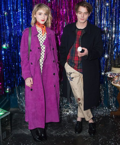 coat natalia dyer charlie heaton menswear mens pants polka dots