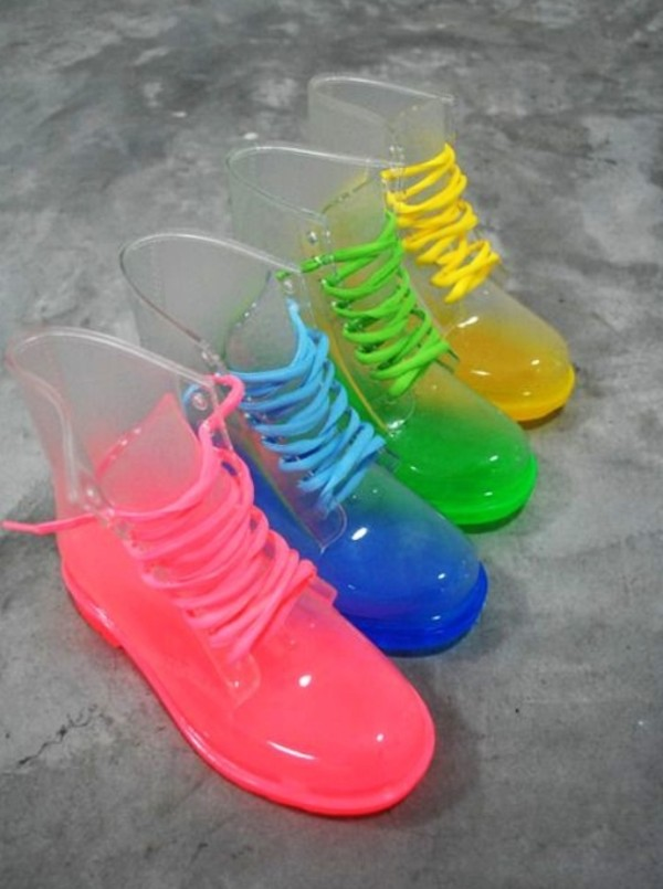 shoes boots wellies colorful bright neon blue pink yellow green pretty cute lovely plastic clear clear boots funny