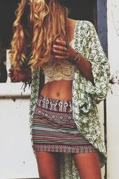 jacket,kimono,hippie,hipster,boho,bohemian,style,green,white,off-white,short sleeve,3/4 sleeve,fashion,stylish,fashionista,forest,cute,pretty,gorgeous,tribal pattern,skirt,shirt,cami,camisole,bralette,white crop tops,cardigan,lace bralette,tank top,blouse