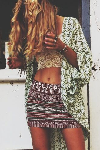 jacket kimono hippie hipster boho bohemian style green white off-white short sleeve 3/4 sleeve fashion stylish fashionista forest cute pretty gorgeous tribal pattern skirt blouse