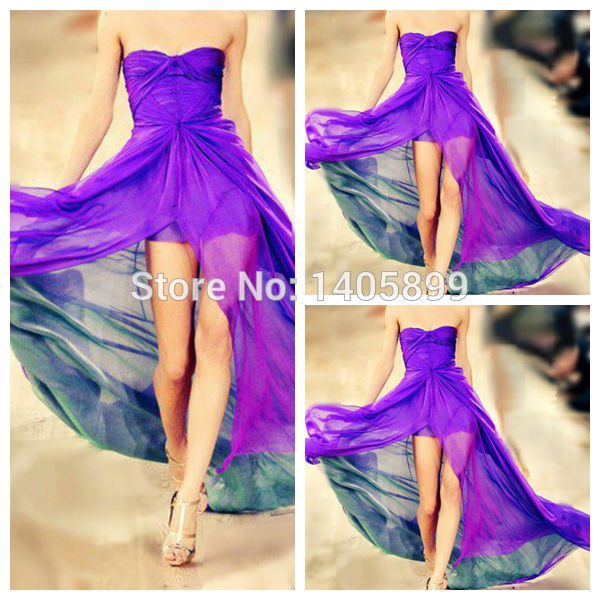 Aliexpress.com : buy purple dress strapless neck pleat natural high slit floor length see through a line chiffon prom dress 2014 dresses long dress from reliable dress cocktail dress suppliers on bridal lover