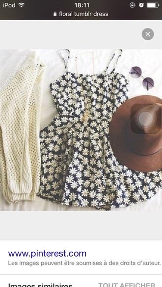 dress floral marguerites black summer summer dress