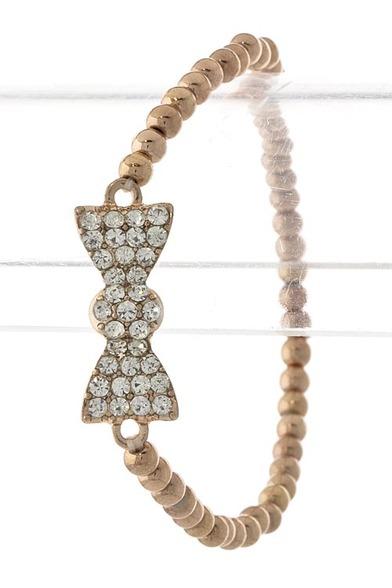 Crystal bow beaded stretch bracelet