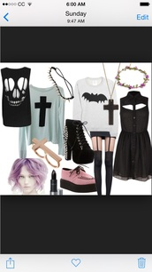 dress,pastel goth,shoes,make-up,hair accessory,sweater,blouse