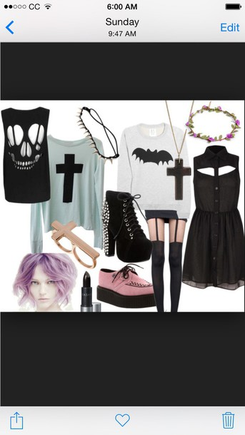 dress pastel goth shoes make-up hair accessory sweater blouse