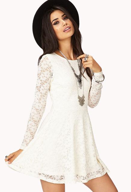 White Lace Dreamer Skater Dress
