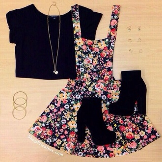 skirt black crop top crop tops long necklace chunk heels heels heart jewelry floral overall skirt high heels shoes dress floral black top flowers hippie neck less