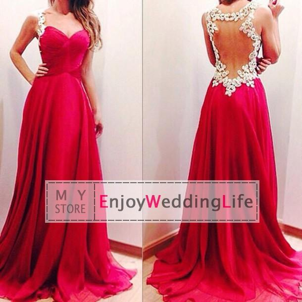 Wholesale Prom Dresses - Buy 2015 New Sexy Spaghetti Straps Chiffon Prom Dresses Ruffles Sheer Back Applique Evening Gowns, $109.95 | DHgate