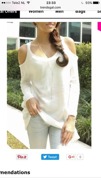 sweater off the shoulder white trendy fashion style fall outfits long sleeves casual trendsgal.com