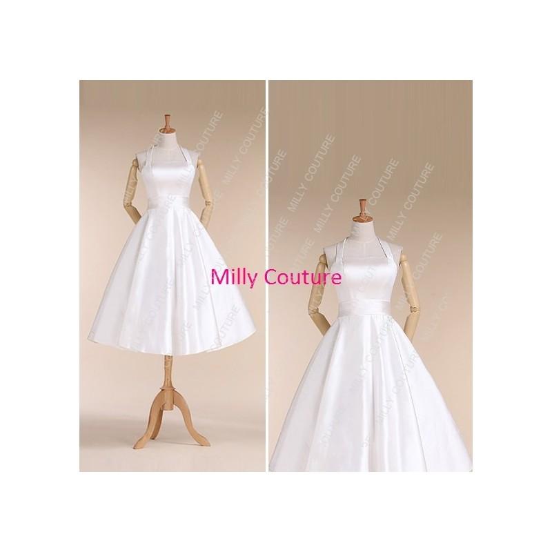 Rockabilly Wedding Dress.Halter Rockabilly Wedding Dress 1950s Style Wedding Dress Vintage Short Wedding Dress Tea Length Bridal Gown Maria Hand Made Beautiful