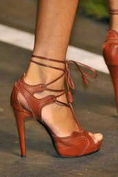 shoes,high heels,leather heels,leather,brown high heels,heels,brown,tan,strappy,strappy heels,lace up,lace up heels,peep toe heels,high heel sandals,brown sandals