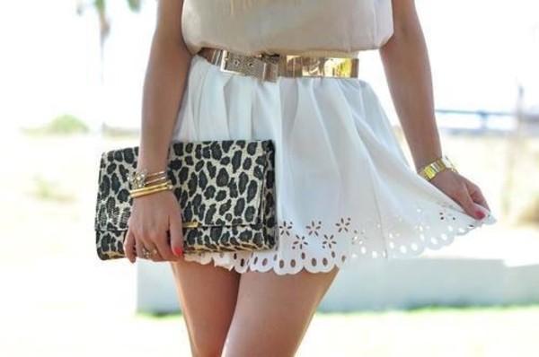 skirt pretty flowers pattern shape cute summer spring clutch bag shirt cream gold blouse