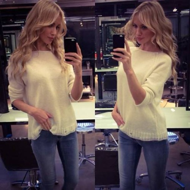 blouse denim jeans skinny jeans oversized white sweater sweater