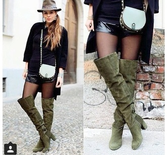 shoes boots suede boots khaki camouflage knee high boots