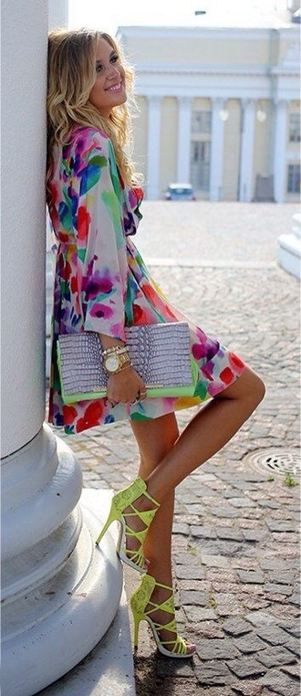 dress summer dress style fashion perfecto multi colored bright neon dress white dress mini dress long sleeve dress long sleeves purple dress red dress yellow dress green dress blue dress mint dress
