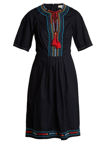dress embroidered cotton navy