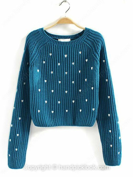 sweater blue sweater teal turquoise turquoise sweater aqua blue hearts heart print heart pattern