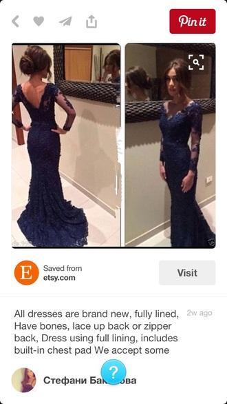 dress prom dress prom long dress navy laced dress