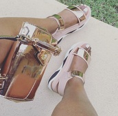 shoes,metallic shoes,sandals,strappy,pink,summer