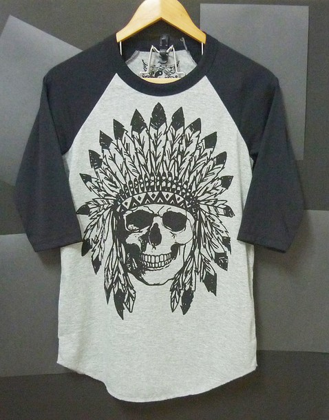 shirt indian skull skull t-shirt skull raglan shirt native skull grey t-shirt baseball tee raglan tee day of the dead tee women tee men tee t-shirt 3/4 sleeve shirt t-shirt baseball shirt raglan shir clothes men clothes women clothing