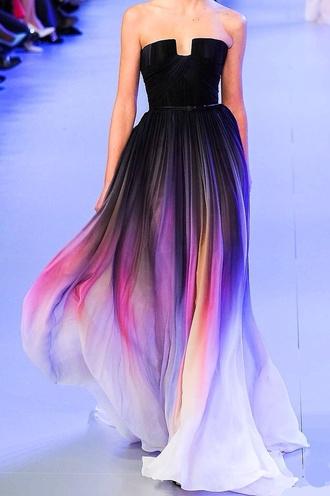 runway dress black pink dress purple dress blue dress dress fashion runway strapless dresses style ombre purple