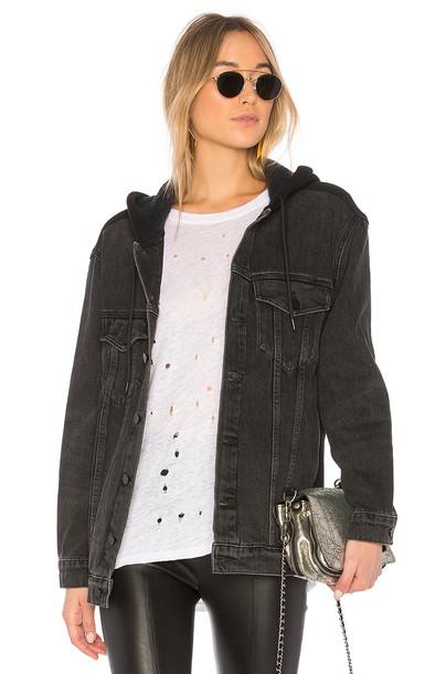 DENIM X ALEXANDER WANG hoodie denim black grey sweater