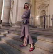 shoes,mules,maxi dress,long sleeve dress,crossbody bag
