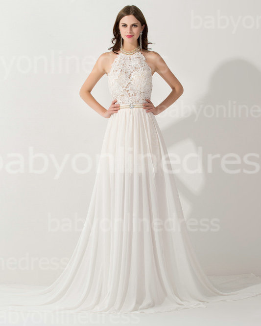 Aliexpress.com : buy hot & sexy white halter high low lace bride dress a line beaded chiffon beach wedding party dress free shipping from reliable dress asian suppliers on 27 dress