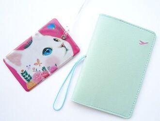 faux bag faux leather luggage tag phone case passport cats kitty girly classy holder name