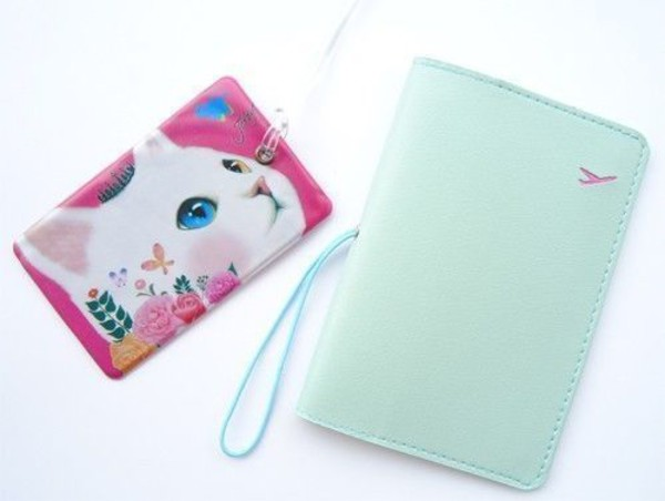 luggage tag phone cover passport cover cats cats girly elegant faux leather faux holder name passport cover