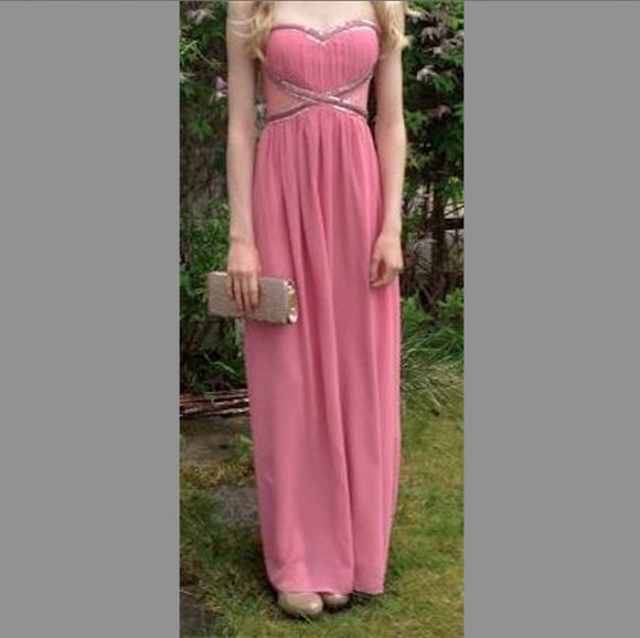 dress simple pretty pink prom gown elegant prom gown