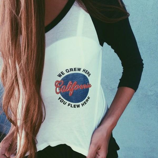 t-shirt california black and white baseball tee shirt california top crewneck see through white t-shirt