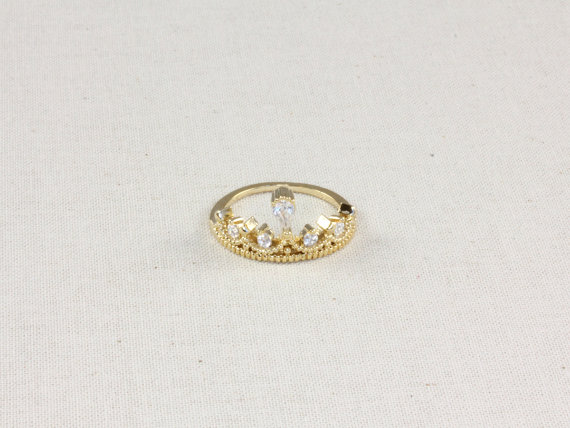Royal crown ring in gold by aliceandblue on etsy