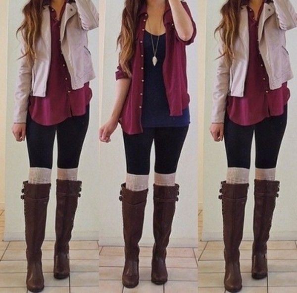 shirt outfit blue top blue shirt shoes blouse burgundy blouse t-shirt jacket cardigan boots leggings