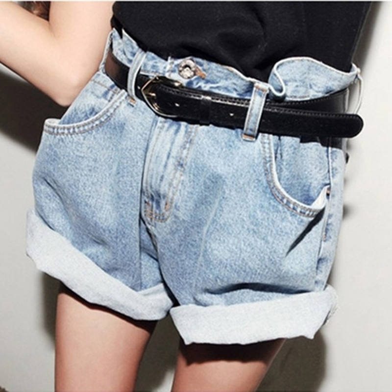 New Women's Girl's High Waisted Oversize Crimping Boyfriend Jeans Shorts Pants | eBay