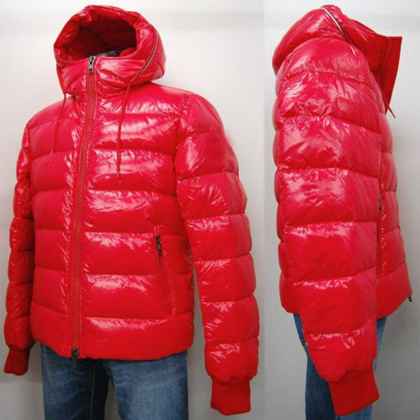 Coat: red coat red jacket glossy puffy down jacket bubble
