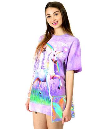 blouse unicorn purple rainbow rainbow shirt