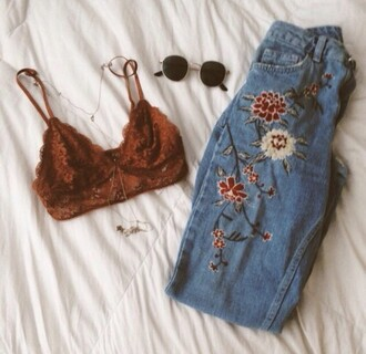 jeans mom jeans flowers tumblr orange