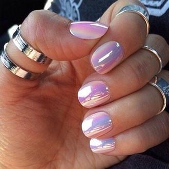 nail polish nails cute pretty hipster chic trendy iridescence nail polish iridescent holographic pink light pink