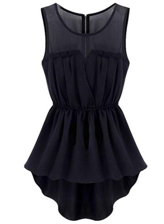 Black Mesh Insert Hi Lo Waisted Dress