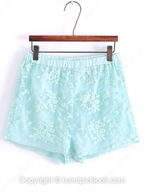 Light Green Flowers Embroidery Lace Loose Shorts - HandpickLook.com