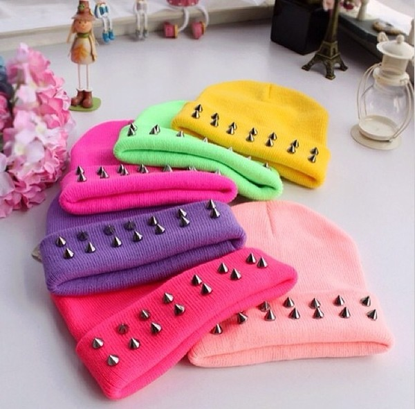 hat any color studded beanies