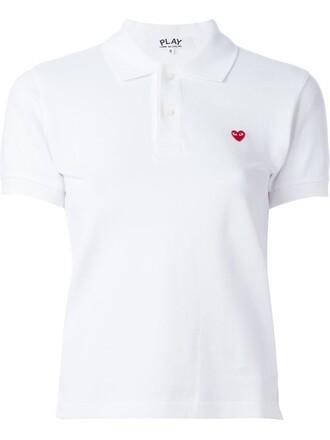 shirt polo shirt heart mini white top