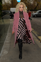 dress,black,pink,stripes,midi dress,asymmetrical,asymmetrical dress,rita ora,celebrity,fall outfits