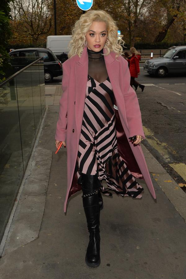 dress black pink stripes midi dress asymmetrical asymmetrical dress rita ora celebrity fall outfits