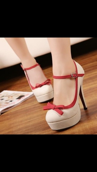brown beige shoes trendy high heels stiletto red ribbon strapped