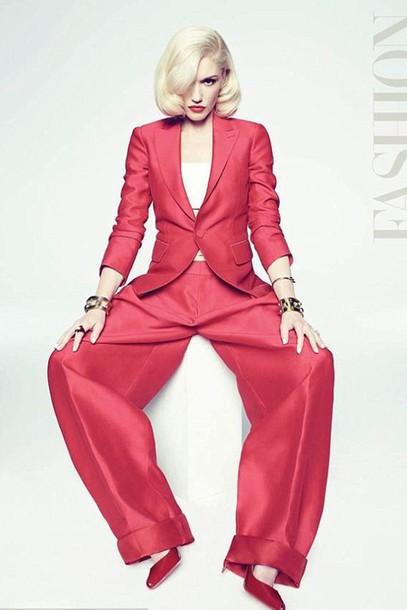gwen stefani red blazer suit wide-leg pants pants