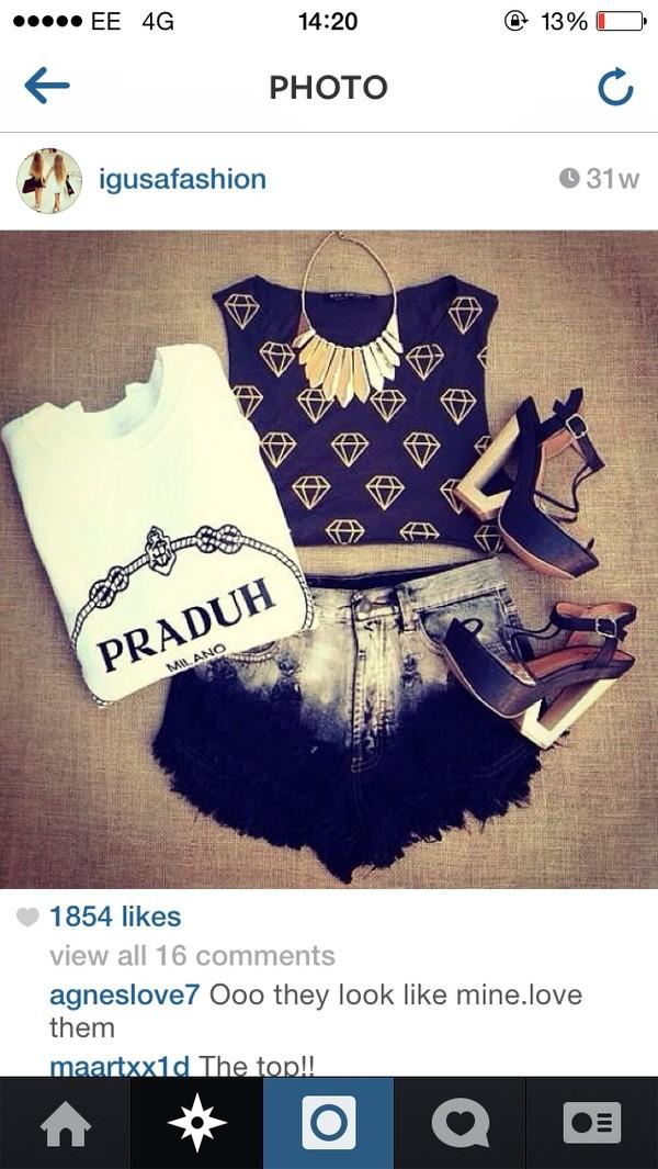 t-shirt praduh diamonds shorts tank top shirt shoes